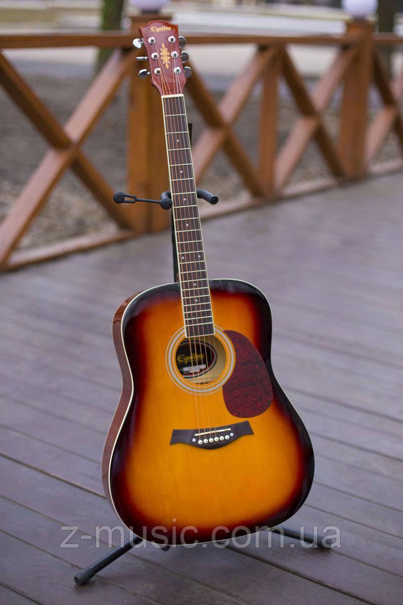 Гитара акустическая Equites Eq-08 SB (копилка, медиатор, ключ), глянцевая