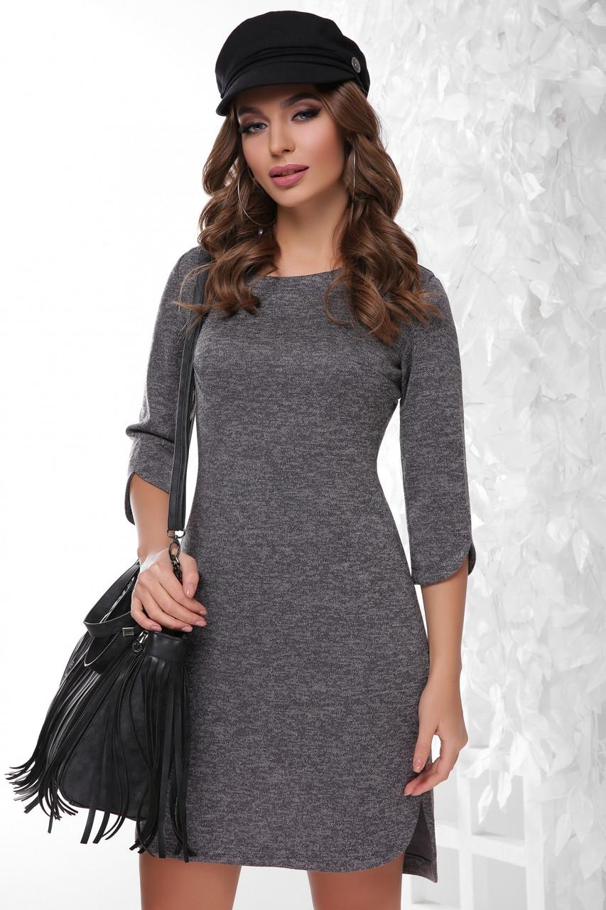 Модное ангоровое серое платье 42-50рр.