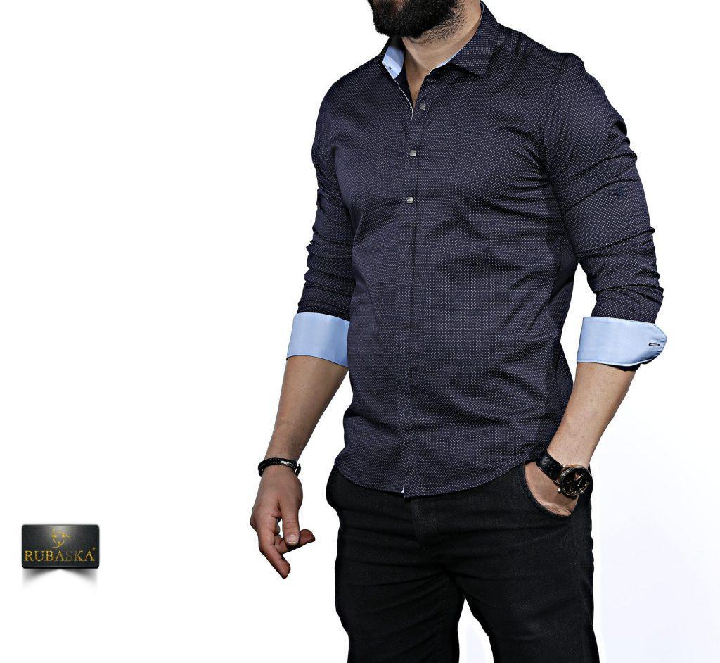 Приталенная рубашка с длинным рукавом