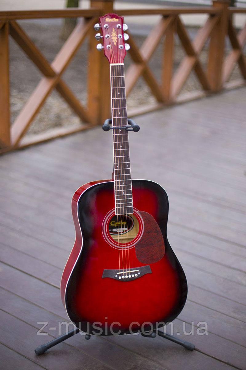 Гитара акустическая Equites Eq-08 RD (копилка, медиатор, ключ), глянцевая