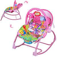 Шезлонг качалка для детей Bambi PK-308-pink, фото 1