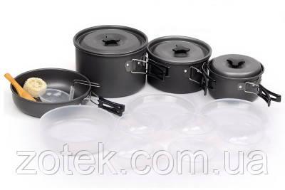 Набор посуды SY-500 на 4-5 человек, из анодированного алюминия, комплект туристический походный кемпинга