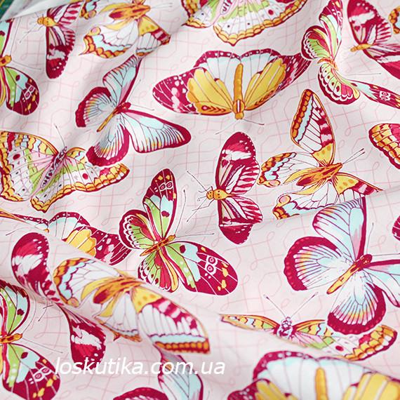 31001 Бабочки. Легкая летняя ткани для пошива летней одежды и для изготовления хендмэйд изделий.