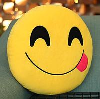 Декоративные подушки Смайл Улыбка Emoji 30 см. Подушка смайлик с язычком, фото 1