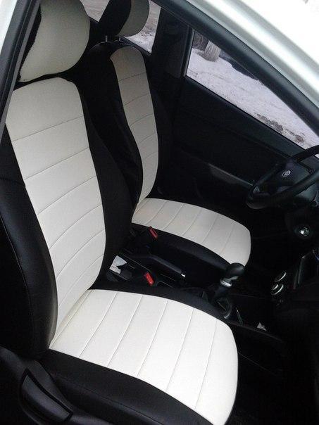 Чехлы на сиденья ДЭУ Нексия (Daewoo Nexia) (универсальные, кожзам+автоткань, с отдельным подголовником)