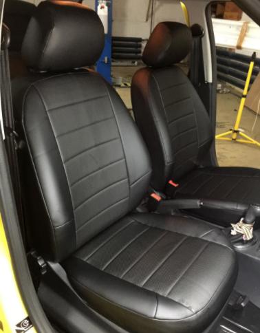 Чехлы на сиденья Фиат Линеа (Fiat Linea) (универсальные, кожзам+автоткань, с отдельным подголовником)