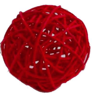 Шар из ротанга 3 см красный