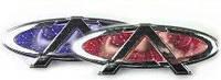 Автоэмблема Chery A3 с подсветкой 3D (синяя-красная)
