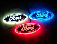 Автоэмблема Ford Focus с подсветкой (бело-красная)