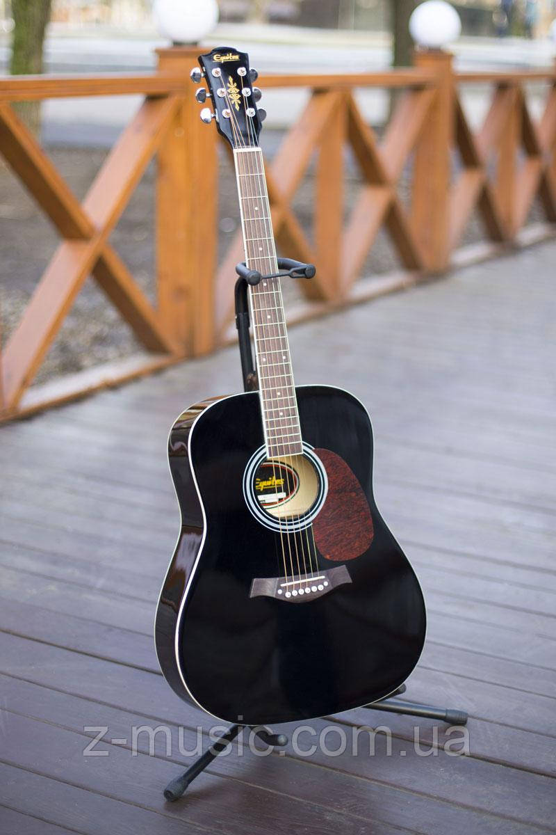 Гитара акустическая Equites Eq-08 BK (копилка, медиатор, ключ), глянцевая
