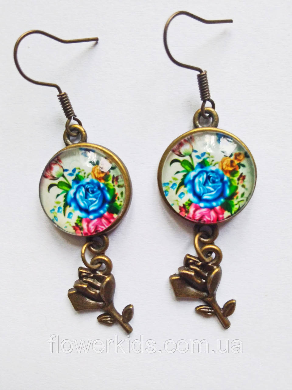 Сережки ручної роботи з синіми трояндами