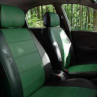 Чехлы на сиденья Шкода Румстер (Skoda Rumster) (универсальные, кожзам+автоткань, с отдельным подголовником)