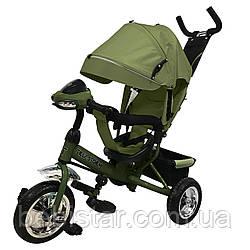 Трехколесный детский велосипед зеленый TILLY STORM музыка и свет