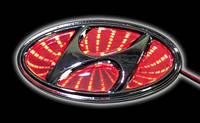 Автоэмблема Hyundai Sonata/I30 с подсветкой 3D (красная)