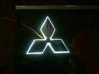 Автоэмблема Mitsubishi Lancer X с подсветкой (бело-красная), фото 1