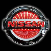 Автоэмблема Nissan Tiida с подсветкой 3D (красная)
