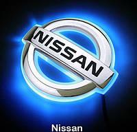 Автоэмблема Nissan с подсветкой Nissan Livina (синяя-красная), фото 1