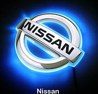Автоэмблема Nissan с подсветкой Nissan Tiida (синяя-красная), фото 1