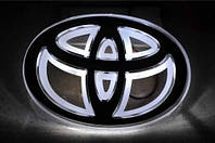 Автоэмблема Toyota Vios/Yaris (бело-красная) с подсветкой, фото 1