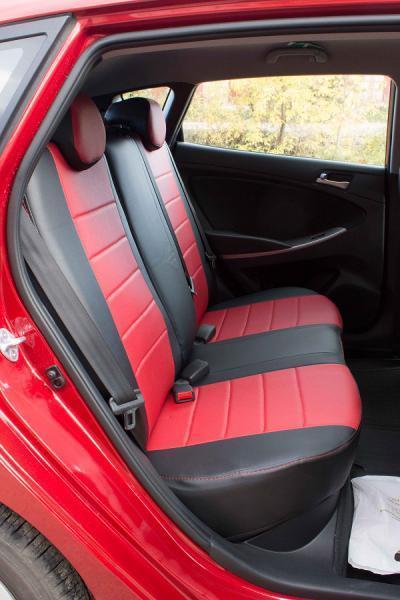 Чехлы на сиденья Вольво 244 (Volvo 244) (универсальные, кожзам+автоткань, с отдельным подголовником) черно-красный