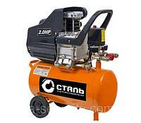 Передвижной воздушный масляный компрессор 8 бар, 220В для дома с ресивером на 24л,  до 190 л/мин