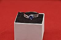 Серебряное кольцо, Кристалл, с камнем синий куб. цирконий, размер 18, фото 1