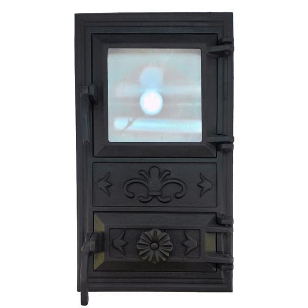 Дверца для печи со стеклом 102910, чугунная печная дверка