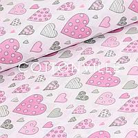 ✁ Отрезы бязи Сердечки в горошек на розовом, фото 1