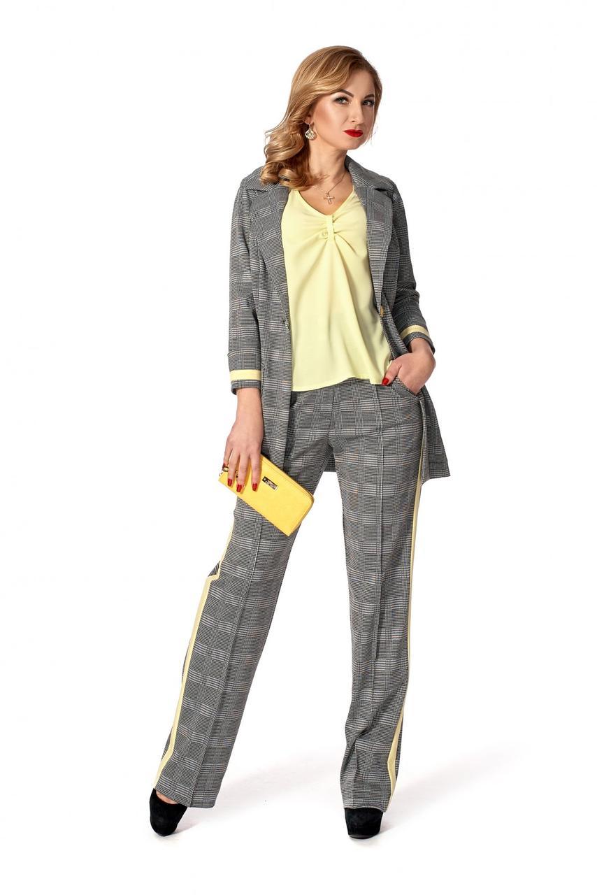 b97ba2f8986 Стильный женский брючный костюм-тройка в клетку р.46  продажа