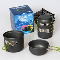 Набор посуды DS-201 на 2-3 человек, из анодированного алюминия, комплект туристический походный кемпинг