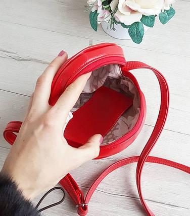 Стильная женская круглая сумка красная, фото 2