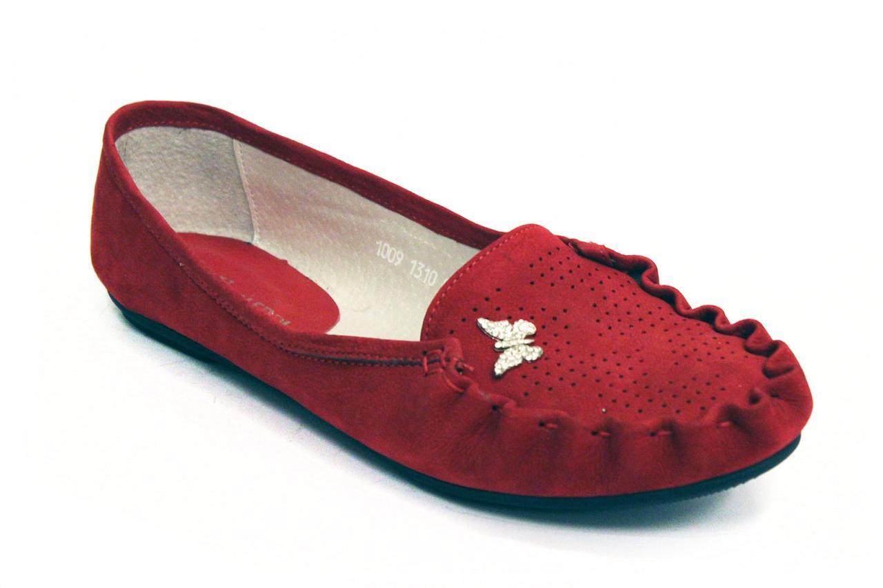 Мокасины замшевые женская обувь больших размеров Tesoruccio Red Vel by Rosso Avangard BS цвет красный