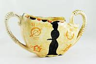 Ваза старинная, кашпо керамика, позолота, маркировка, Бельгия
