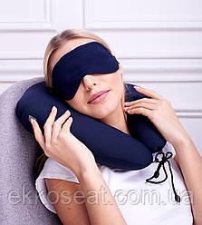 Подушка для подорожей під голову EKKOSEAT.COM з маскою. Бінарна з оксамитової вставкою для шиї. Асорті.