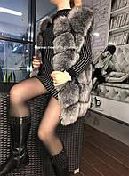 Меховая шуба жилетка Ника из искусственного эко - меха чернобурки L, XL, XXL, 3XL,4XL, фото 1