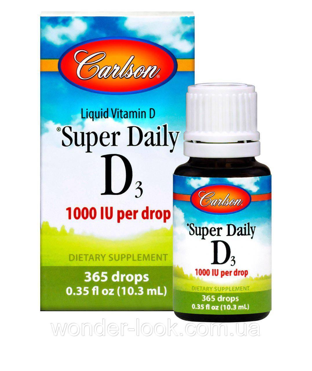 Carlson Labs, Super Daily D3, витамин D3, 1000 МЕ, 0,35 жидкой унции (10,3 мл)