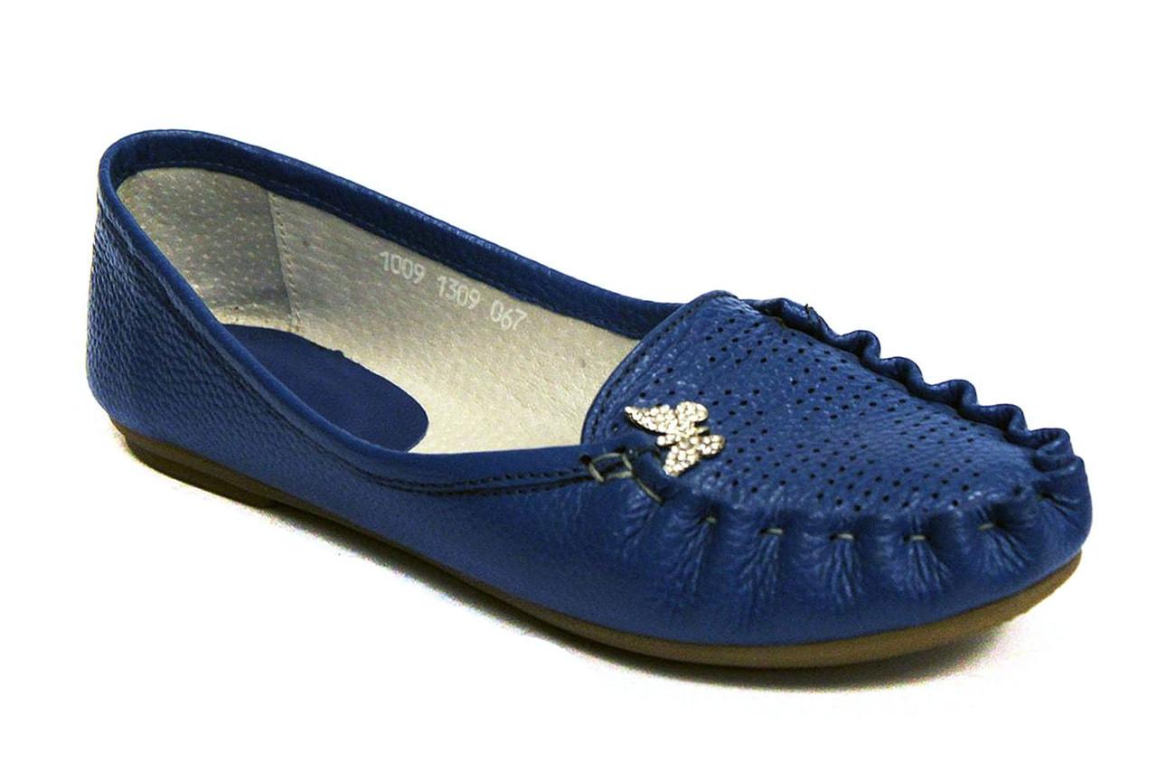 Мокасины кожаные женская обувь больших размеров Tesoruccio Blu Vel by Rosso Avangard BS цвет синий