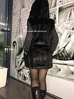 Меховая шуба жилетка Сабина с капюшоном из искусственного эко - меха норки L, фото 1