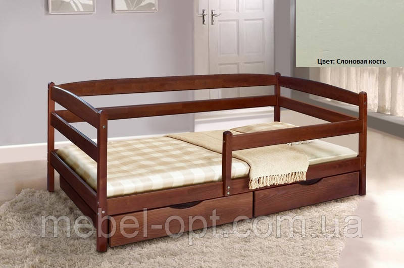 Детская односпальная кровать Ева с ящиками + планка 80х190, цвет слоновая кость
