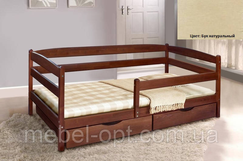 Детская односпальная кровать Ева с ящиками + планка 80х190, цвет бук натуральный