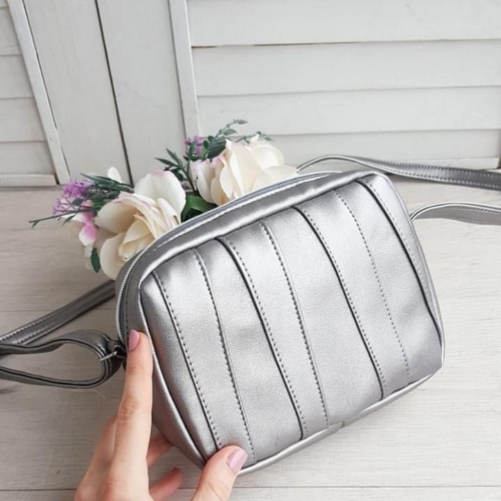 Стильная женская сумка серебро