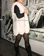Меховая шуба жилетка Марго искусственный эко - мех песца XL,XXL, фото 1