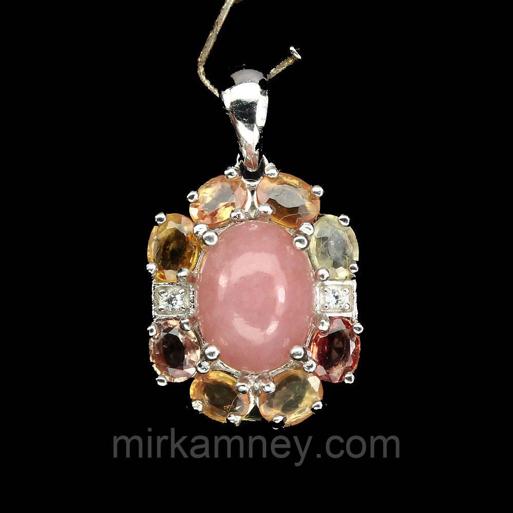 Кулон Розовый Опал и Цветные Сапфиры. Серебро 925 в белом золоте 14 карат