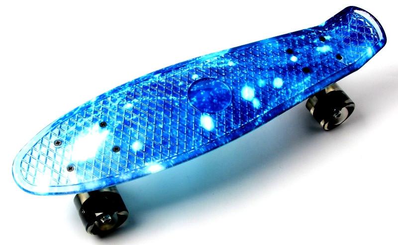 Скейт ПенниБорд рисунок Космос. Светящиеся колеса +40 грн