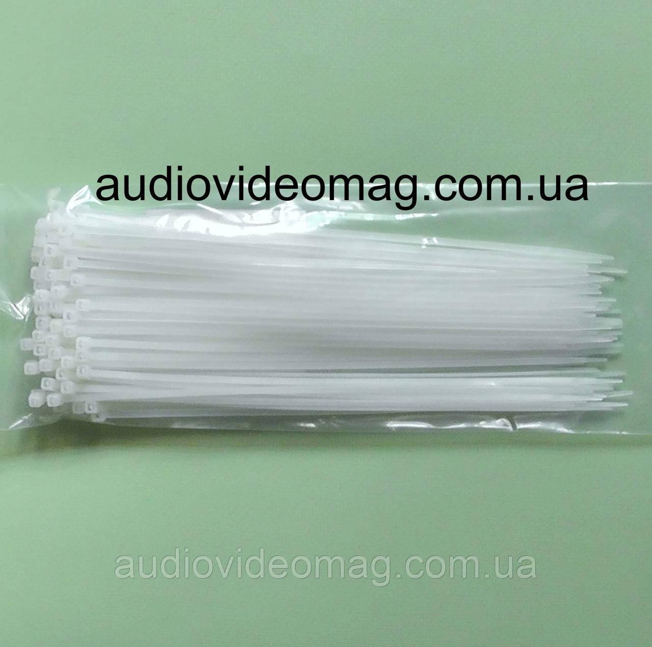 Стяжка кабельная 2,5 х 200 мм белая, цена за упаковку (100 штук)