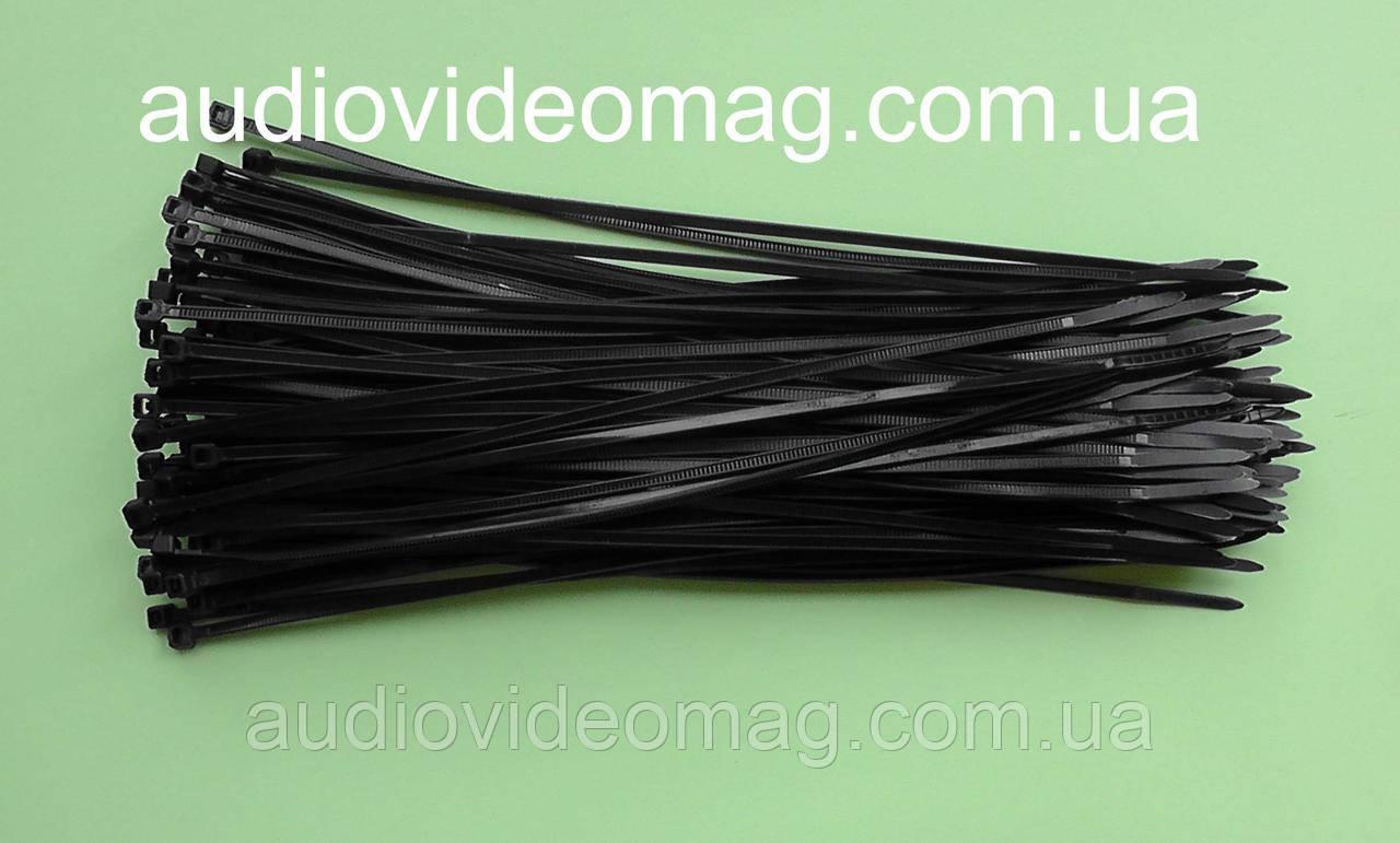 Кабельна Стяжка 2,5 х 200 мм чорна, ціна за упаковку (100 штук)
