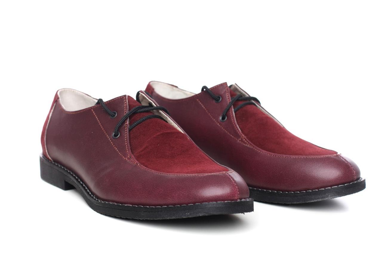 Туфли женские большого размера оксфорды бордовые натуральная кожа замша Sei un mio Burgundy by Rosso Avangard