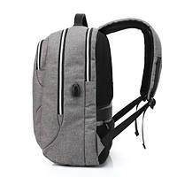 Городской мужской рюкзак для ноутбука ,USB — выход,черый,серый, фото 3