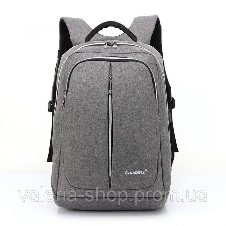 Городской мужской рюкзак для ноутбука ,USB — выход,черый,серый