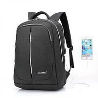 Городской мужской рюкзак для ноутбука ,USB — выход,черый,серый, фото 5